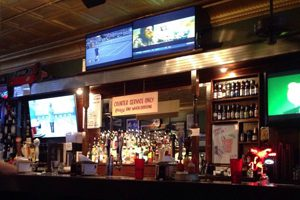 We feature eight flat screen televisions showing all sports and a wide selection of drinks.